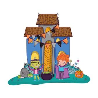 Château effrayant avec costume d'enfants et chaudron de pot
