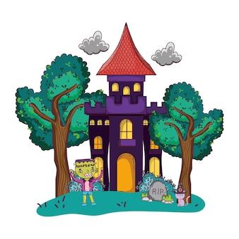 Château effrayant avec costume de garçon frankenstein