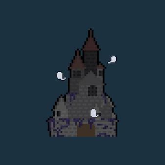 Château effrayant de dessin animé pixel art.