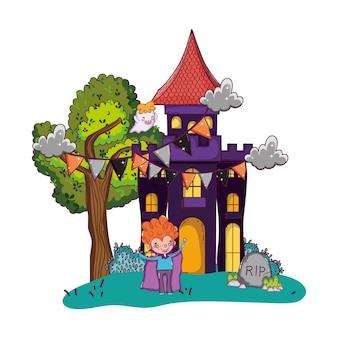 Château effrayant avec garçon vampire et costume d'halloween