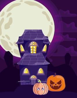 Château effrayant avec lune en scène d'halloween