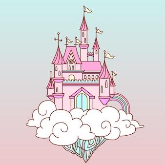 Château de fantaisie rose dans le ciel