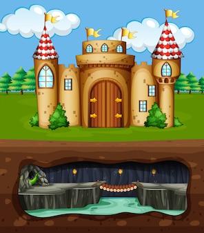 Un château et une grotte souterraine de dragon