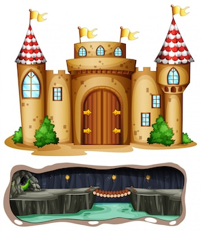 Un château et une grotte souterraine