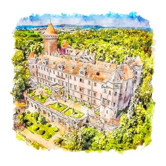 Château des habsbourg république tchèque illustration aquarelle croquis dessinés à la main