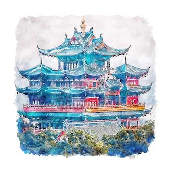Château hangzhou chine aquarelle croquis illustration dessinée à la main