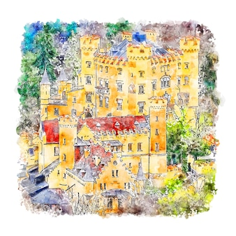 Château de hohenschwangau bavière allemagne croquis aquarelle illustration dessinée à la main