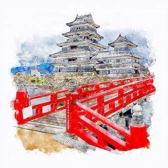 Château japon aquarelle croquis illustration dessinée à la main