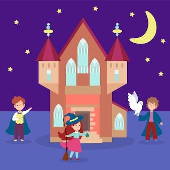 Château magique bâtiment jeune personnage caractère sorcier kid sorcellerie université illustration. sort de forteresse matérielle.