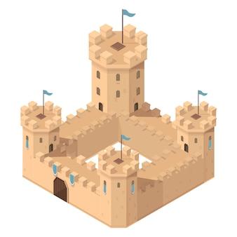 Château médiéval isométrique de dessin animé avec tours et portes, illustration vectorielle