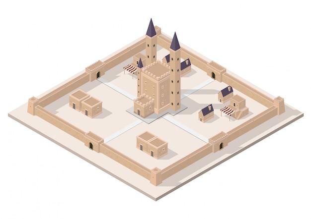 Château médiéval isométrique de vecteur
