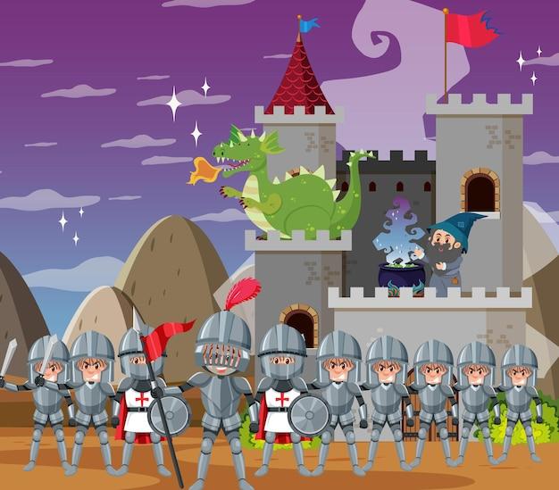 Château médiéval de magicien avec le dragon