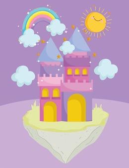 Château mignon dessin animé arc-en-ciel nuages soleil rêve magie