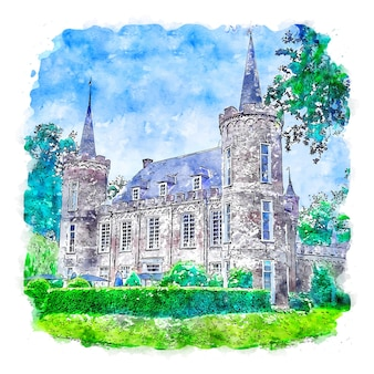 Château pays-bas aquarelle croquis dessinés à la main illustration