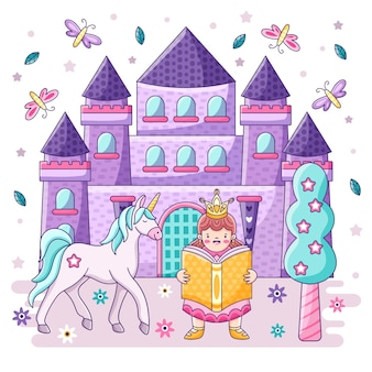 Château et princesse de concept de conte de fées