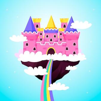 Château rose de conte de fées sur les nuages