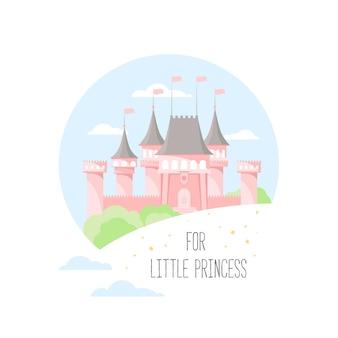 Château rose isolé sur fond blanc et texte pour petite princesse