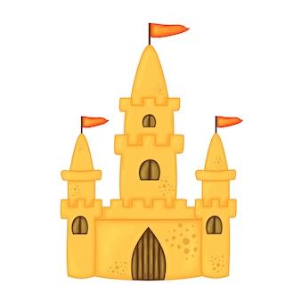 Château de sable dans un style dessin animé mignon - illustration vectorielle isolé