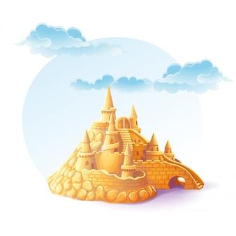 Château de sable illustration sur le fond du ciel
