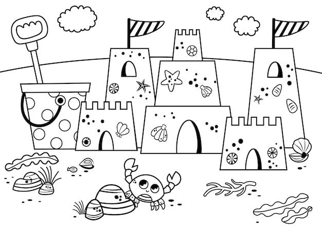 Château de sable noir et blanc sur la plage vector illustration