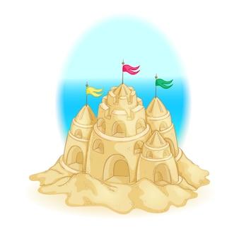 Château de sable avec des tours et des drapeaux. jeux d'été sur la plage