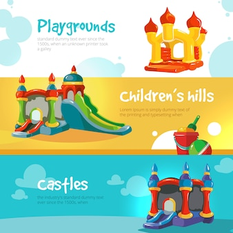 Châteaux gonflables et collines d'enfants sur la bannière de jeux