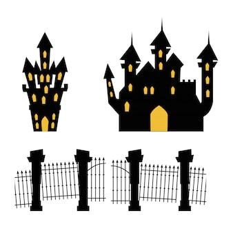 Châteaux hantés avec le cimetière de la porte
