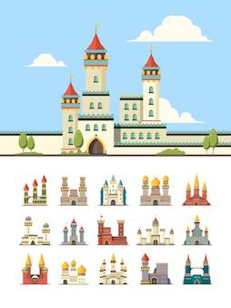 Châteaux médiévaux. vieux palais de construction tours de colline illustration plate.