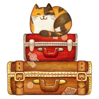 Chaton calicot aquarelle sur des valises de voyage vintage