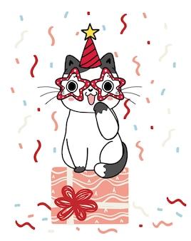 Chaton chat ludique mignon avec de grands yeux assis sur une boîte cadeau dans un dessin animé de fête dessiné à la main