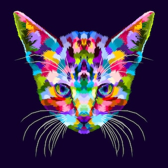 Chaton coloré sur le pop art abstrait
