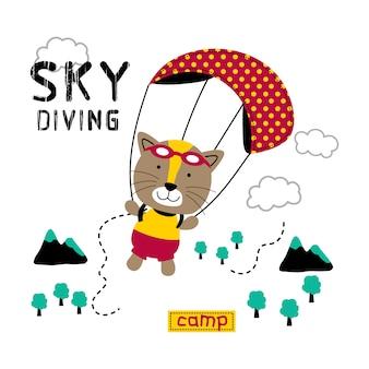 Chaton est parachutisme dessin animé drôle d'animal