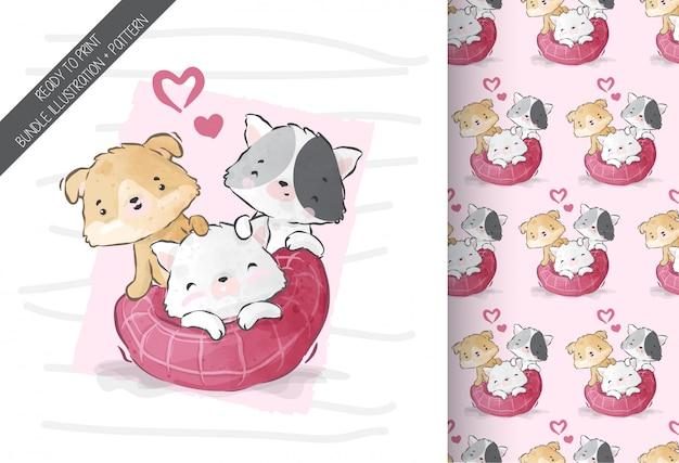 Chaton mignon bébé animal et amis avec motif transparent