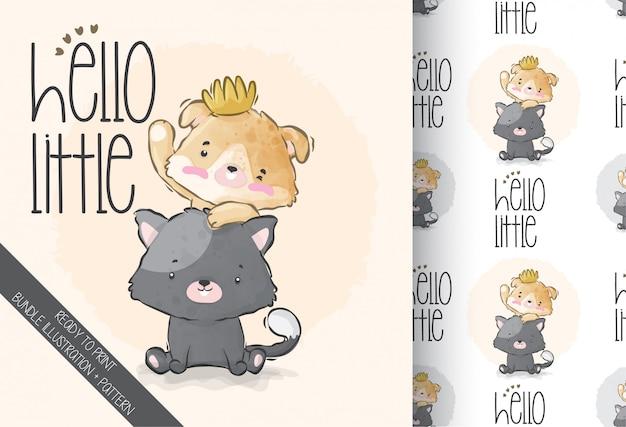 Chaton mignon bébé animal avec modèle sans couture ami
