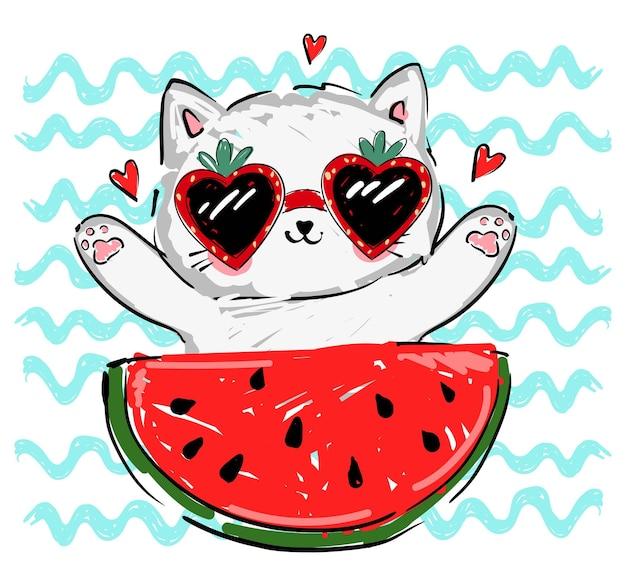 Chaton mignon dans des lunettes de soleil aux fraises et illustration vectorielle de pastèque dessinés à la main pour enfants tendance été imprimé croquis chat