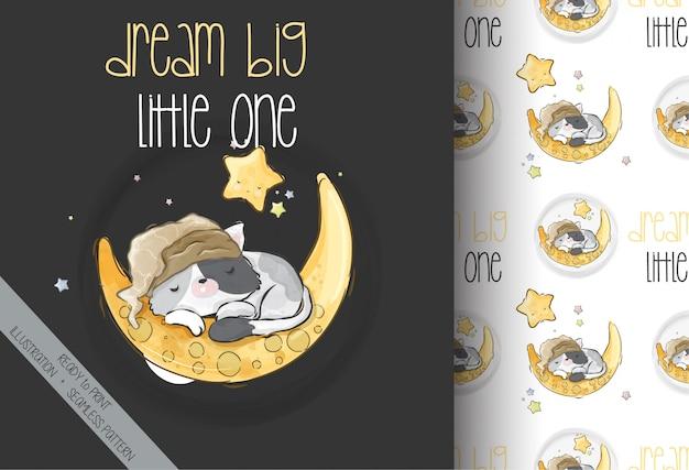 Chaton mignon dormant sur le modèle sans couture de la lune