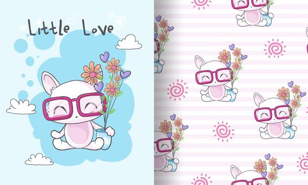 Chaton mignon avec illustration de modèle sans couture de fleur pour les enfants