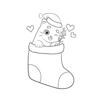 Chaton mignon à l'intérieur de la chaussette de noël. coloriage pour enfants thème de noël et du nouvel an.