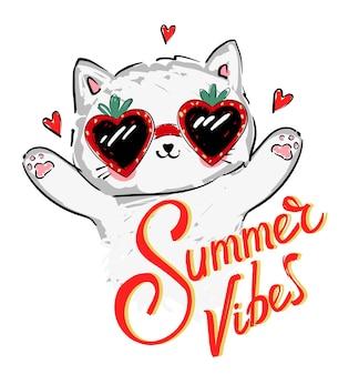 Chaton mignon en lunettes de soleil et illustration vectorielle coeur rouge dessinés à la main pour enfants tendance été impression croquis chat, lettrage summer vibe