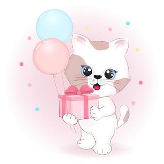 Chaton mignon tenant une boîte-cadeau et des ballons cartoon illustration dessinée à la main