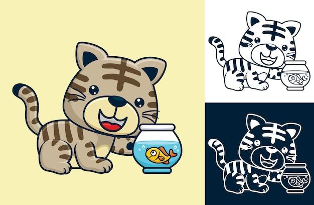 Chaton avec petit poisson sur pot. illustration de dessin animé de vecteur dans le style d'icône plate