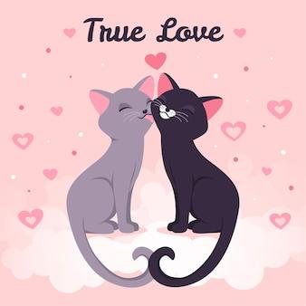 Des chatons mignons s'embrassant illustrés