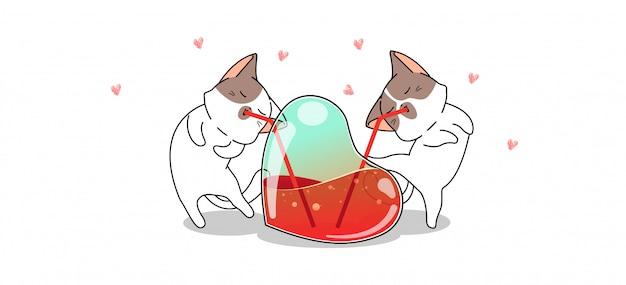 Les chats adorables de bannière boivent du jus de coeur