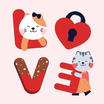 Chats avec amour de texte, concept de la saint-valentin