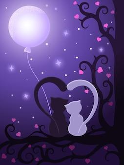 Les chats amoureux sont assis sur un arbre la nuit avec la lune. affiche pour la saint-valentin. les chats aimants sont assis sur un arbre la nuit avec la lune - illustration vectorielle eps10.