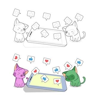 Les chats apprécient la page de coloriage de dessin animé de médias sociaux pour les enfants