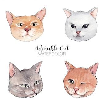 Chats aquarelles adorables
