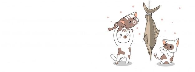 Les chats de bannière sont le bonheur avec la grande bannière de poissons
