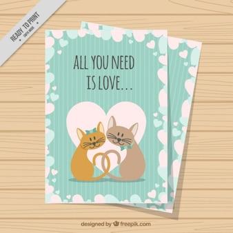 Chats belle carte d'amour