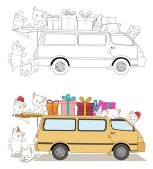 Les chats et les cadeaux montent sur la page de coloriage de dessin animé de van pour les enfants